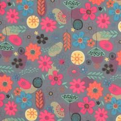 Vandafvisende kanvas i grå med blomster