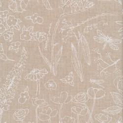 Hør-look bomuld/polyester med tegnede hvide blomster 280 cm.