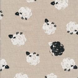 Hør-look med får i hvid og sort
