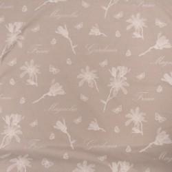 Hør-look bomuld/polyester med hvide blomster og skrift 280 cm.