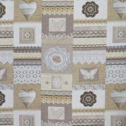 Bomuld/polyester i offwhite, sand og beige med firkanter med print
