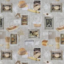 Bomuld m/digitalt print med firkanter af brød, korn