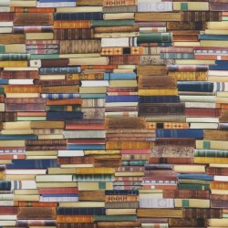 Bomuld m/digitalt print med bøger