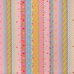 Bomuld/polyester i multifarvet striber med mønster