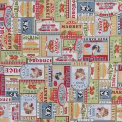 Bomuld/polyester med skilte med ko, høns, æbler