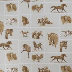 Bomuld/polyester med firkanter med heste