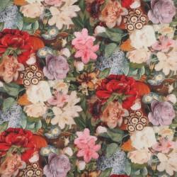 Bomuld m/digitalt print med store blomster