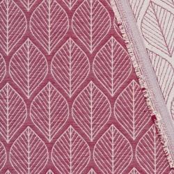 Vævet jacquard stof med blade i rød
