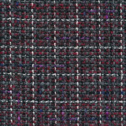 Boucle tweed med sølvtråd i rød sort grå
