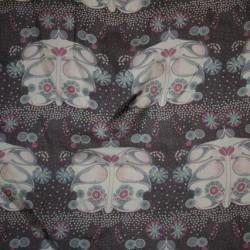 Chiffon silke/bomuld mørkelilla m/mønster