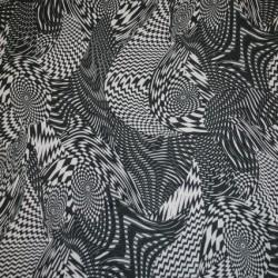 Chiffon m/grafisk mønster sort/hvid