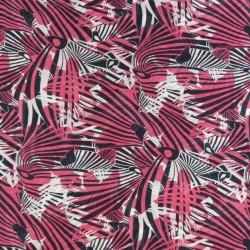 Chiffon med streger og mønster i pink, marine og hvid
