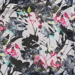 Chiffon i viskose med grene og blomster i hvid sort pink