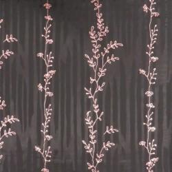 Chiffon i viskose i sort med rosa blade