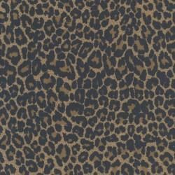 Rest Cowboy twill-vævet med stræk i leopard-print i brun og sort, 25-30 cm.