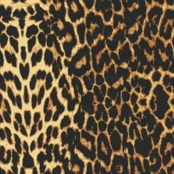 Cowboy twill-vævet med stræk i leopard-print i sort, gylden