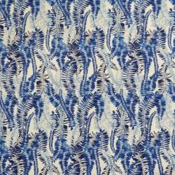 Rest Bomuldssatin med stræk og bladranker i hvid og blå- 95 cm.