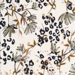 Bomuldssatin med stræk i hvid med blomst og leopard prikker