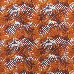 Bomuld med stræk og palme blade i hvid og brændt orange