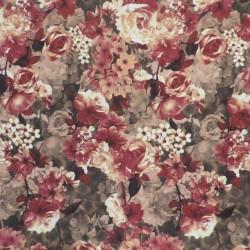 Cowboy med stræk digital print med blomster i brun rød offwhite