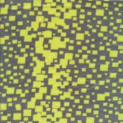 Rest Micro Fleece med firkanter i grå og neon gul- 60 cm.