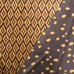 2-sidet Frotté fleece med ruder og prikker i brun