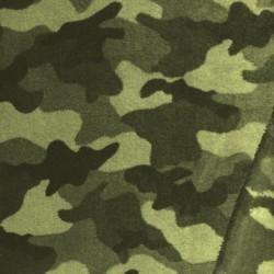 Frotté fleece med army - camouflge print i grå-grøn