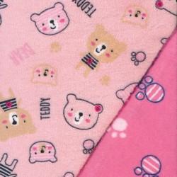 2-sidet Frotté fleece med bamser og poter i lyserød og pink