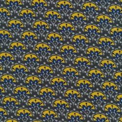 Rest Babyfløjl m/blomster i grå-brun gul blå- 85 cm.