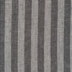 Viskose-hør stribet i koksgrå og hvid