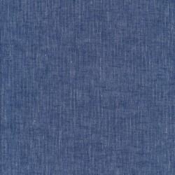 Hør/Bomuld med smalle striber i klar blå og denim.