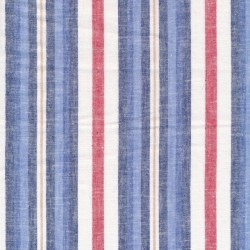 Stribet Hør/Bomuld i blå, rød og hvid