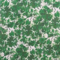 Let viskose/hør med blomster i hvid og grøn