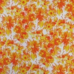 Let viskose/hør med blomster i hvid, gul og orange