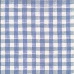 100% Hør ternet i blå, lys blå og hvid