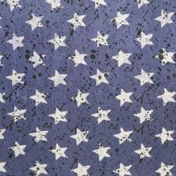 Let isoli - strik med stjerner og prikker i denim og lysegrå