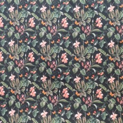 Isoli m/stræk digital print med blomster i sort, pudder-rosa og støvet grøn