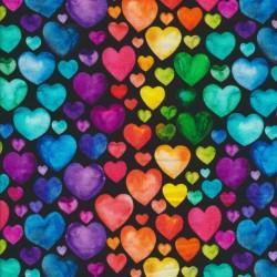 Isoli m/stræk digital print sort med multifarvede hjerter