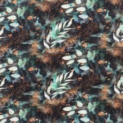 Isoli m/stræk digital print med blade i sort, irgrøn og gylden