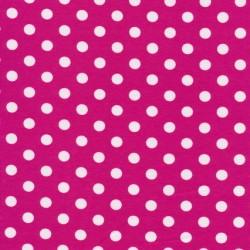 Bomuld/lycra økotex med prikker i pink og hvid