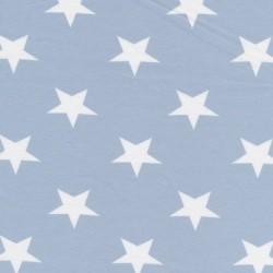 Bomuld/lycra økotex m/stjerner babylyseblå/hvid