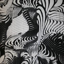 Rest Viscose/elasthan mønstret/zebra-print sort/hvid, 150 cm.