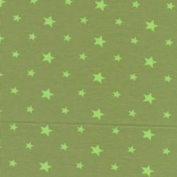 Bomuld/elasthan økotex m/stjerner, lys oliven/lime