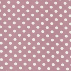 Bomuld/lycra økotex m/prikker, gl.rosa/hvid