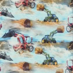 Afklip Bomuld-lycra økotex digitalt tryk, med traktor, baby lyseblå 40x60 cm.