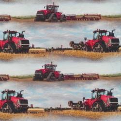 Afklip Bomuld/lycra økotex m/digitalt tryk, med traktor i lyseblå og rød 39x60 cm.