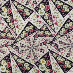 Bomuldsjersey økotex m/digitalt tryk med blomster i trekant