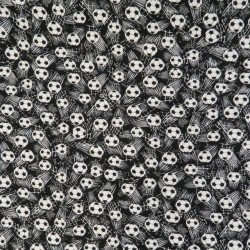 Bomuldsjersey økotex m/digitalt tryk sort med fodbolde