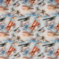 Bomuldsjersey økotex m/digitalt tryk med flyver og skyer