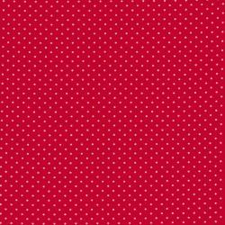 Bomuld lycra økotex med lille prik, rød hvid